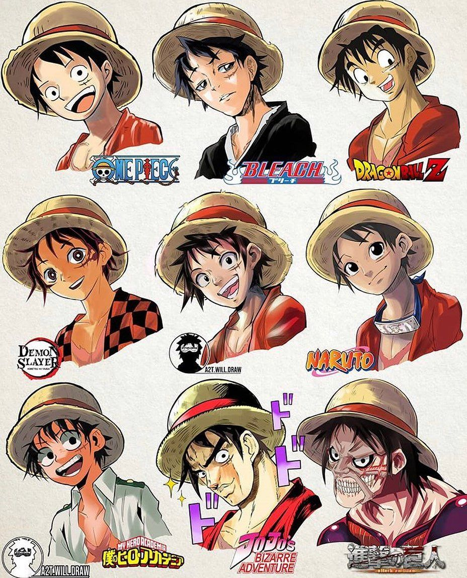 Luffy In 9 Famous Manga Styles Anime Characters One Piece Manga Anime One