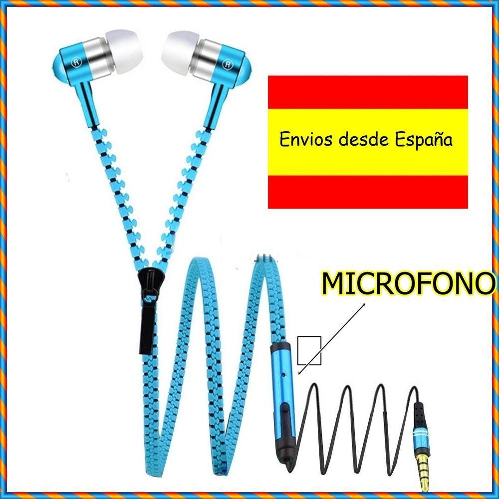 dde6ae375 AURICULARES DISEÑO CREMALLERA AZUL CASCOS MICROFONO 3.5 MM SAMSUNG S5 S6 S7  EDGE