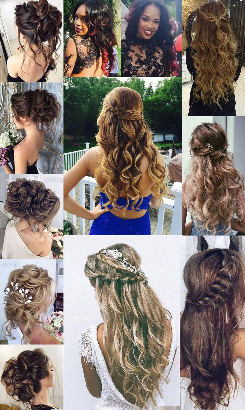 prom hair for party, hairstyle prom for long hair