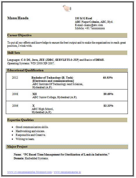 Beautiful Resume Template Sample Template Of A B Tech Ece Electronics And Communication Downloadable Resume Template Resume Format Download Job Resume Format