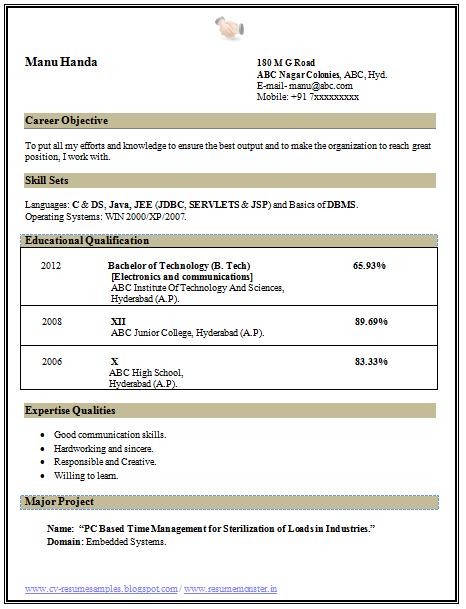 Resume Format For Fresher Ece Lecturer