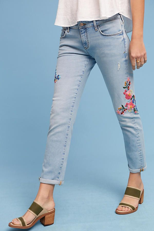 Pilcro Floral Embroidered Mid Rise Ankle Jeans   Ankle jeans