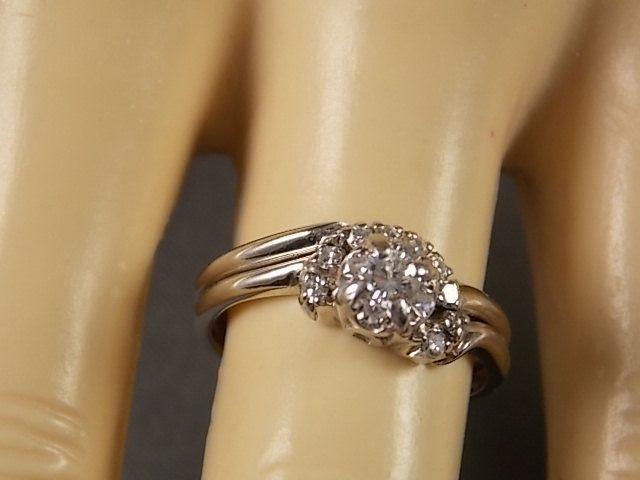 1950s Diamond Weddig Ring Set 34ctw White Gold 14k 3 8gm Size