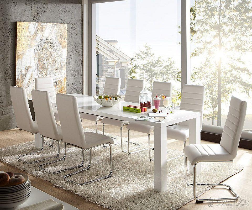 DELIFE Esstisch Dublin 120 240x80 cm Weiss Hochglanz Tisch - der ausziehbare esstisch