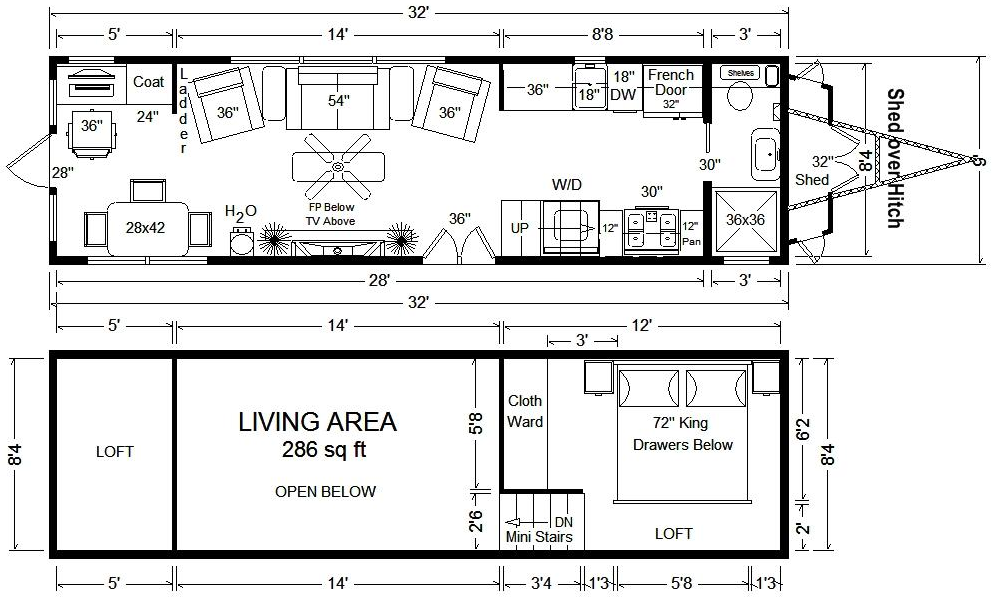Floor Plans For Tiny Houses On Wheels Interesting And Comfortable Design For Tiny Or Small Home On T Tiny House Floor Plans Tiny House Plans Tiny House Trailer