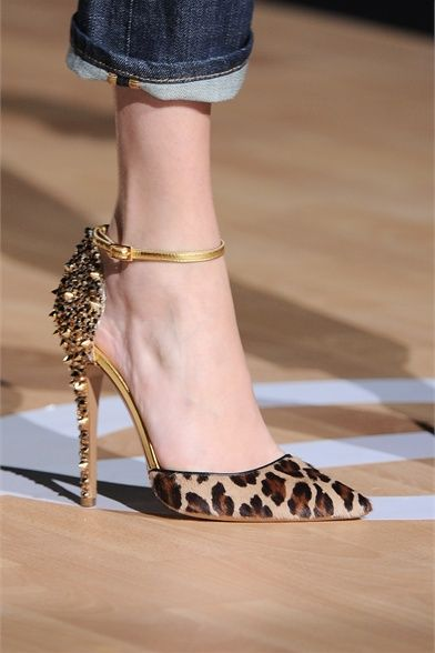Leopard print ponyhair and metallic gold studded pointed-toe dorsay from Dsquared Fall 2012 Milan Fashion Week Show