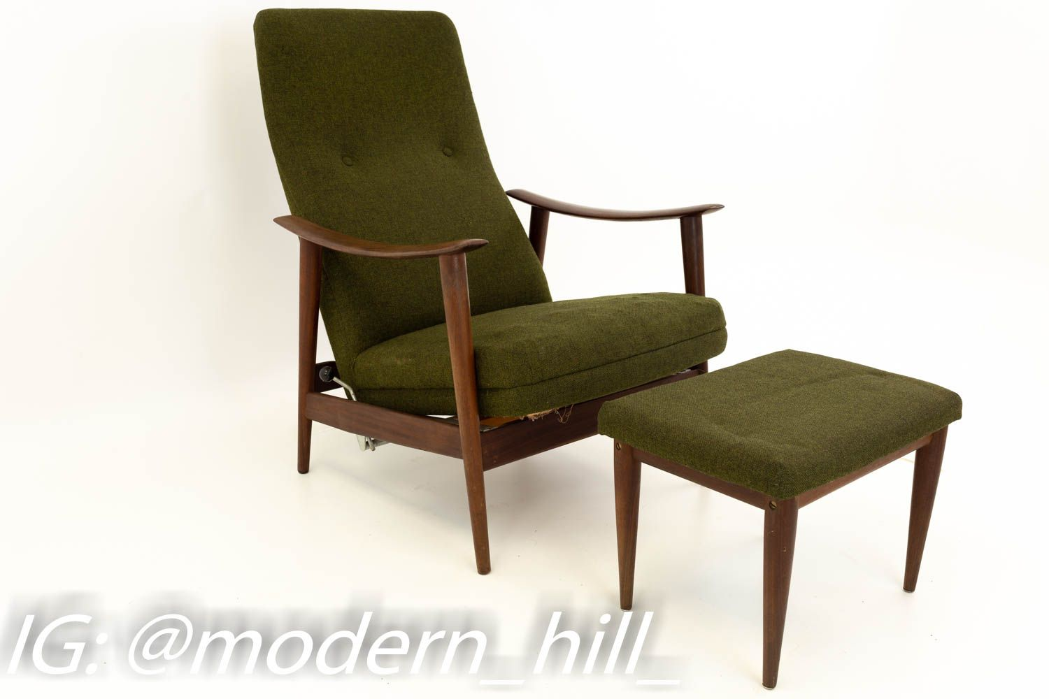 Westnofa Danish Mid Century Reclining Green Wool Lounge Chair