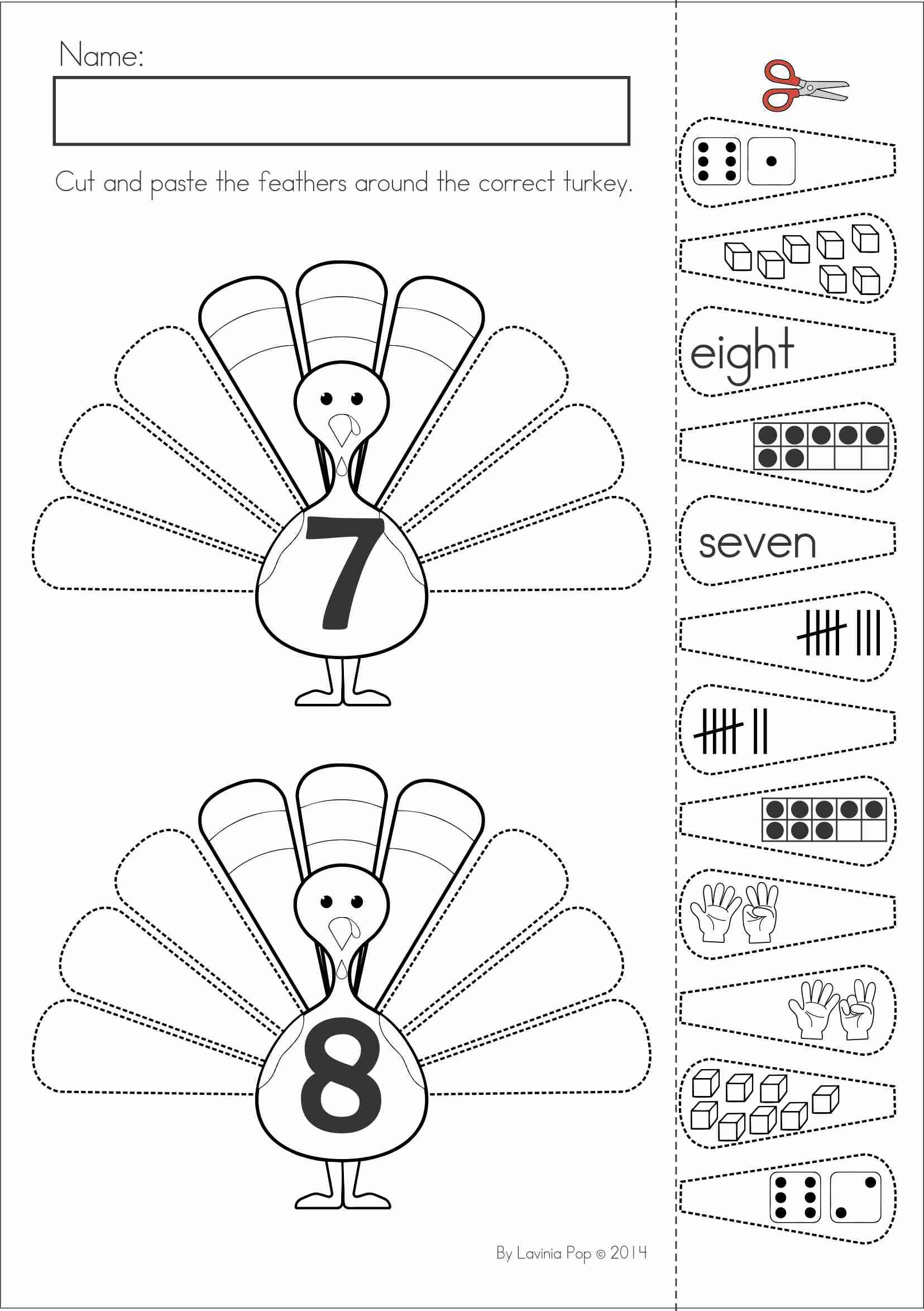 Kindergarten Thanksgiving Math & Literacy Worksheets and Activities. A page from the unit: Turkey Feathers number sense