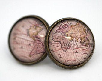 Christmas presents by karen on etsy adrandom pinterest vintage world map earrings version antique bronze glass gumiabroncs Choice Image
