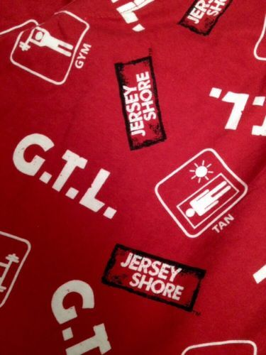 Jersey Shore Gym Tan Laundry Lounge Pajama Pants Red Mtv Medium