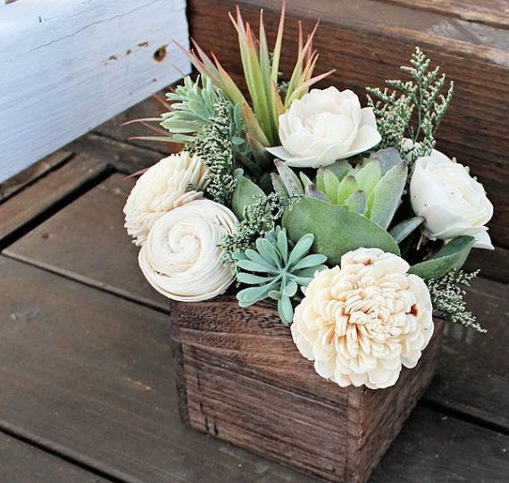 Succulent Arrangement Centerpiece Wood Box Home By