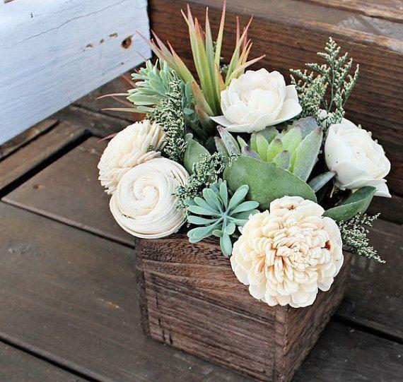Succulent arrangement centerpiece wood box home decor for Wood vases for centerpieces