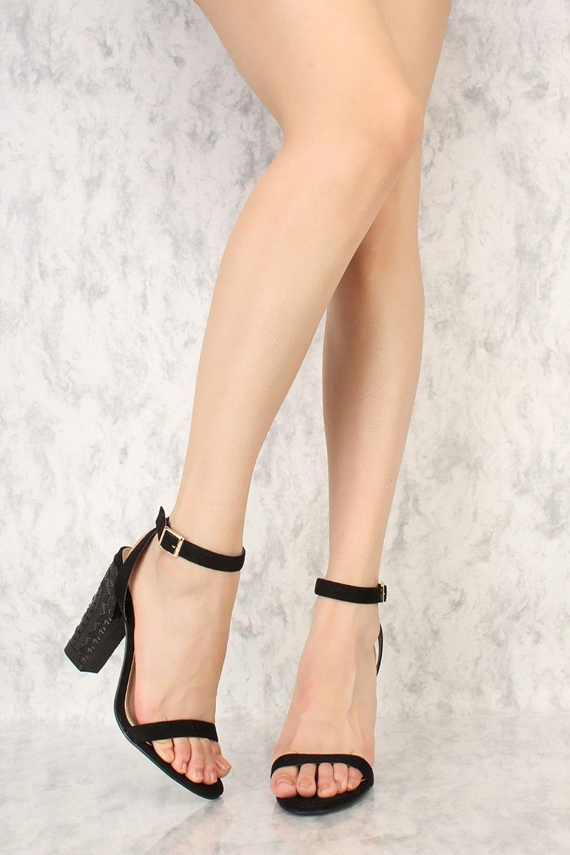 a5f2190c9df Sexy Black Ankle Strap Carved Pattern Chunky Heel Single Soles Faux ...