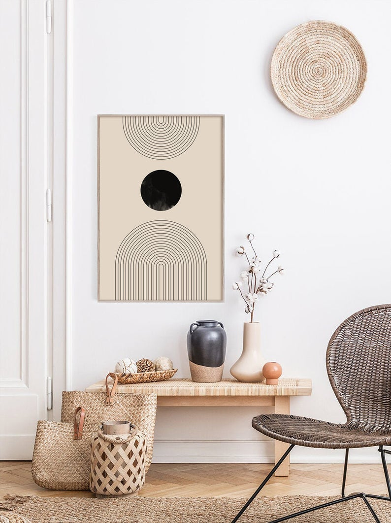 Photo of Mid Century Line Art, Black Geometric Line Art, Modern Abstract Art, Abstract Wall Art, Minimalist Print, Living Room Wall Art, Wall Decor