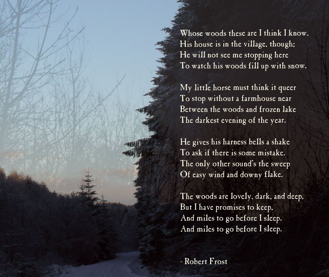 "an analysis of the poem stopping by the woods on a snowy evening by robert frost The main themes of the poem ""stopping by woods on a snowy evening"" by robert frost are isolation, responsibility, and man and nature in its simplicity, the poem manages to convey subtle yet deep ques ()."