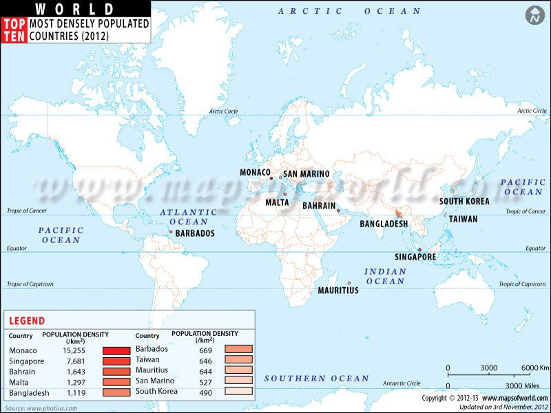 Most Densely Populated Countries Map Include Monaco Singapore - Malta maps with countries
