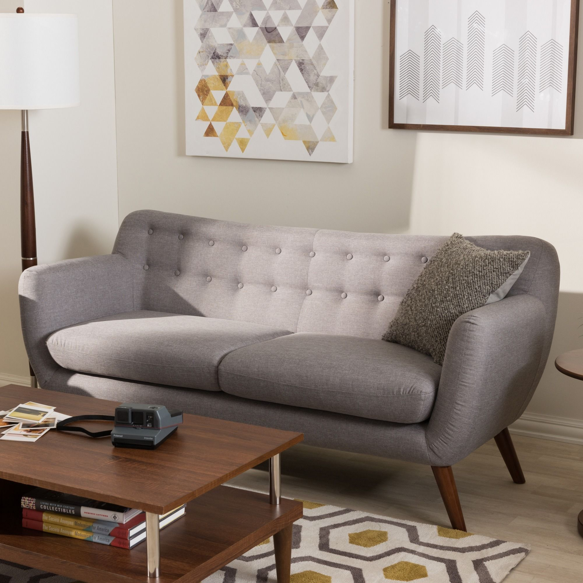 Baxton Studio Melita Mid Century Modern Fabric Grey Tufted Sofa Light