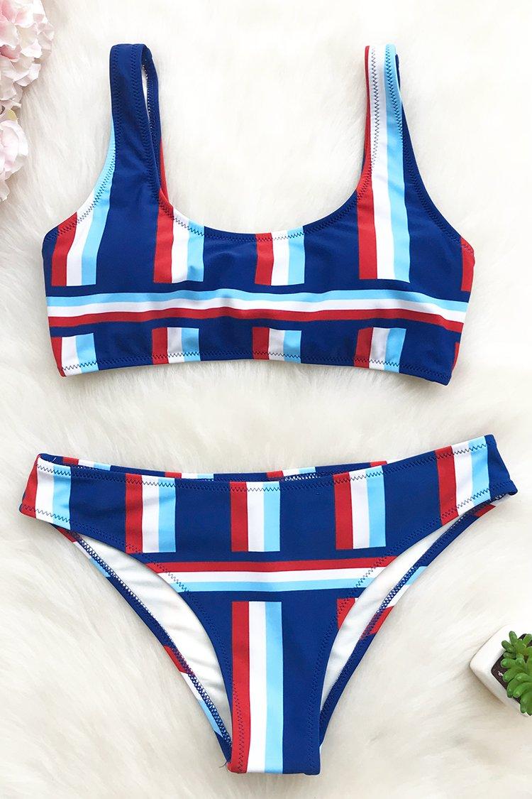 48d4f12b672 Cupshe One More Kiss Stripe Bikini Set | Fashion Me This ♡♡ in ...
