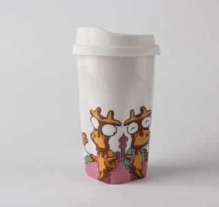 Decal ceramic mug, white mug ceramic with silicone lid