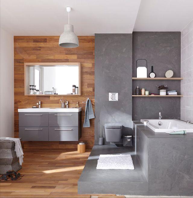 Salle de bains béton ciré  idées déco pour su0027inspirer Attic - parquet flottant special salle de bain