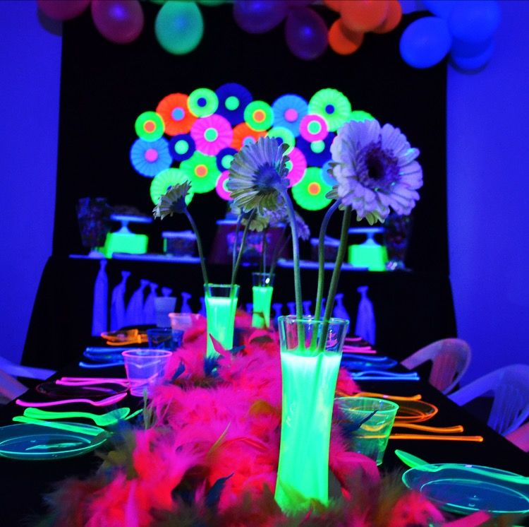 Neon Glow In The Dark Birthday Party With A Kids Table Flower Centerpieces And Runner