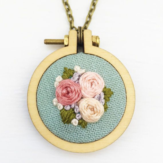 Handstitched floral mini hoop necklace