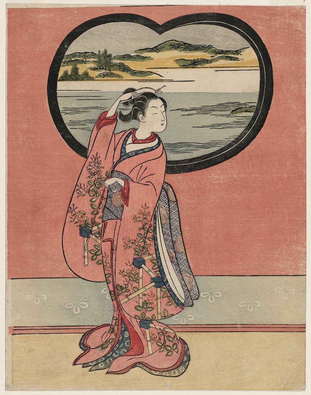 A Symphony in Reds Japanese Repro Woodblock Print by Suzuki Harunobu