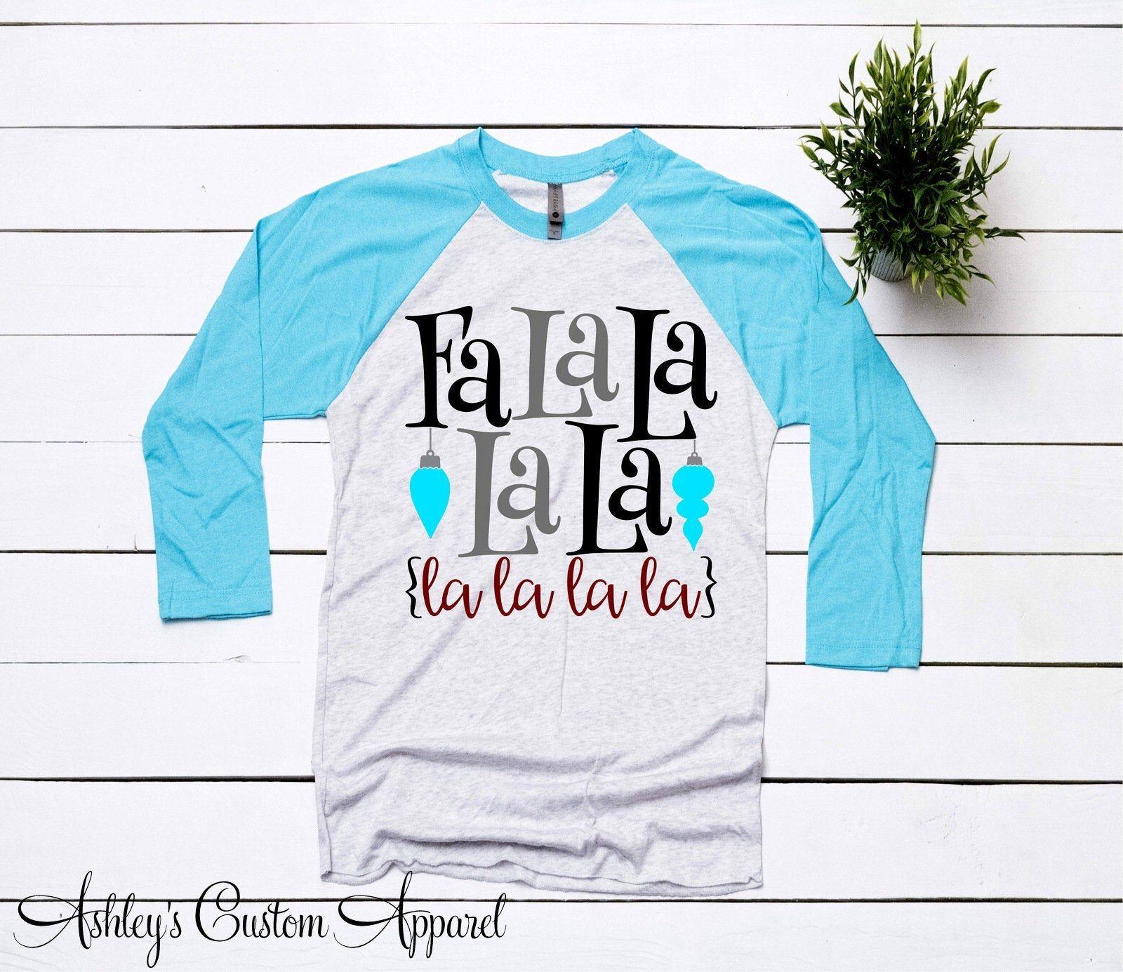 Christmas Shirts For Women Fa La La La La Shirt Ladies Holiday Raglan Christmas Song Tshirts ...
