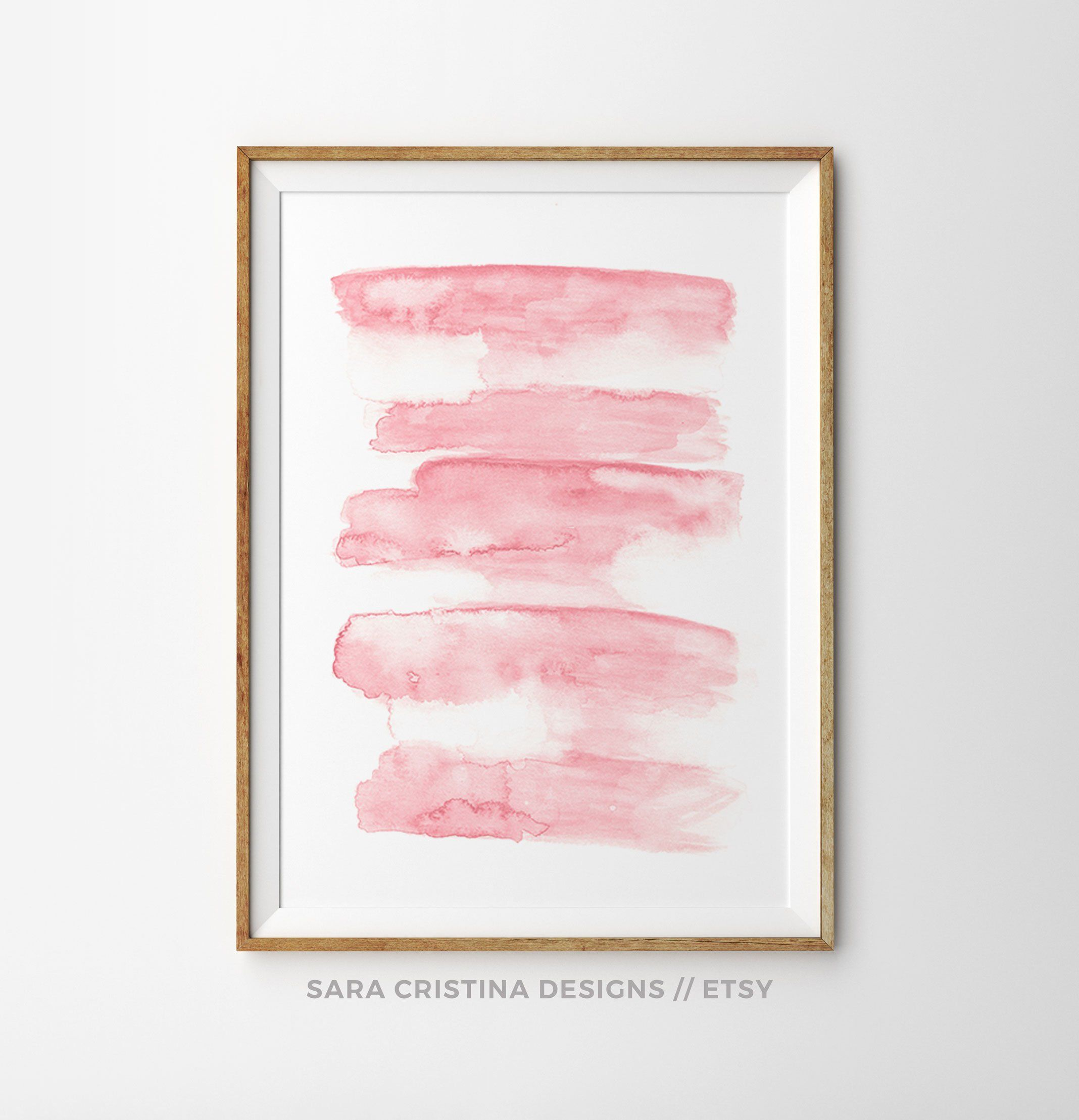 Abstract Print Watercolor Painting Blush Pink Wall Art Large