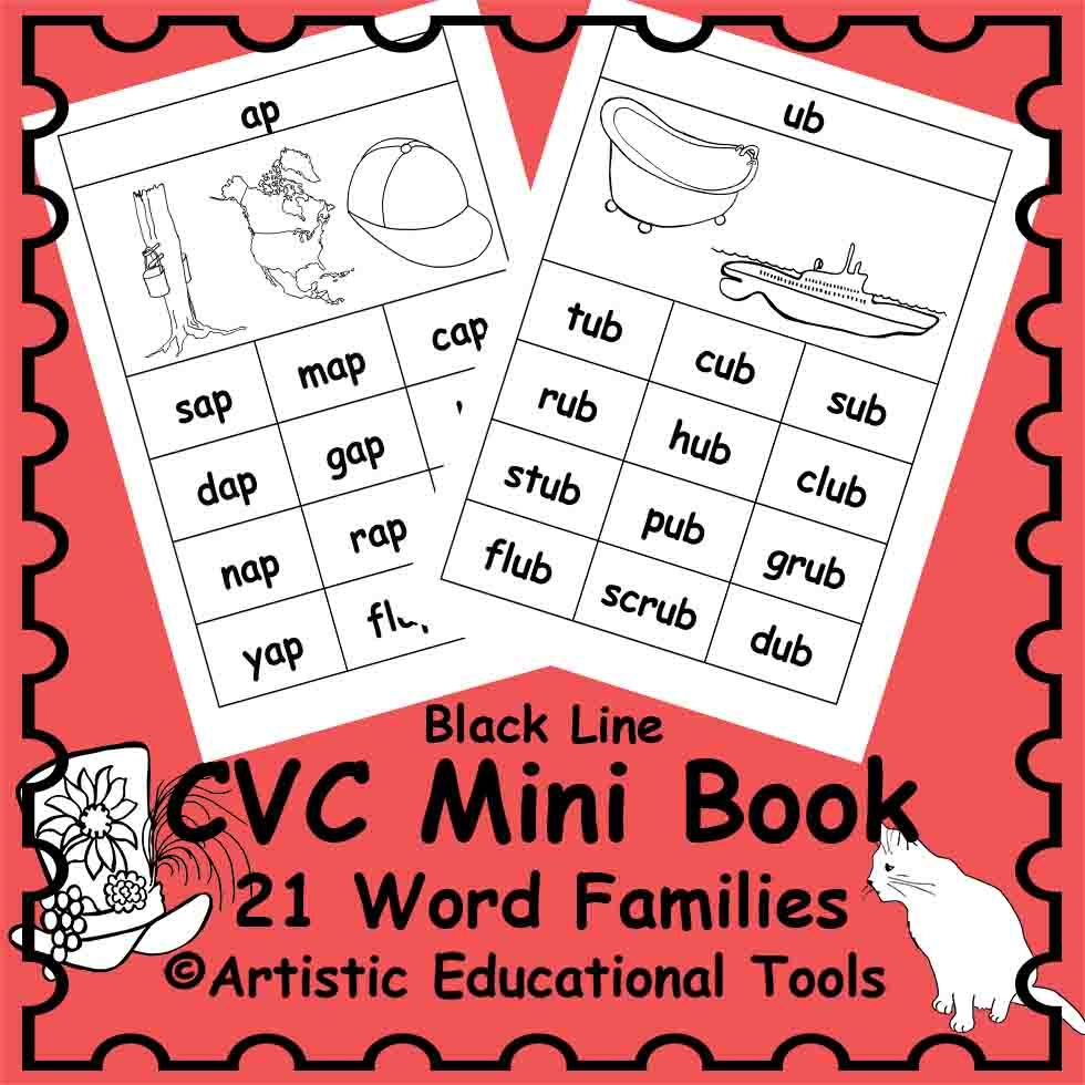 CVC Mini Books and Flash Cards including Rhyming Words COLOR and BW ...