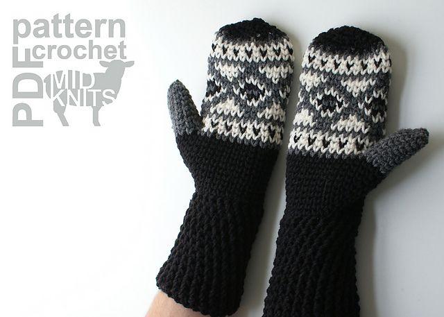 Ravelry: Fair Isle Crochet Diamond Mittens (2016003) pattern by Erin Black