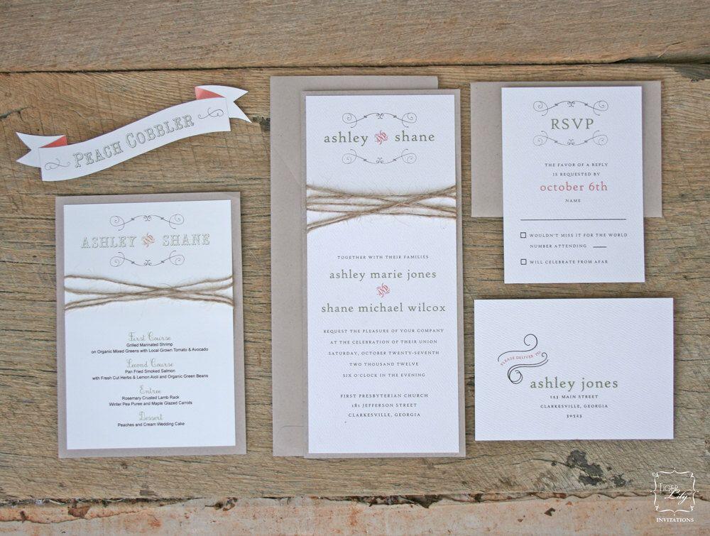 Rustic Twine Wedding Invitation Set Sample von TigerLilyInvitations auf Etsy https://www.etsy.com/de/listing/112886186/rustic-twine-wedding-invitation-set