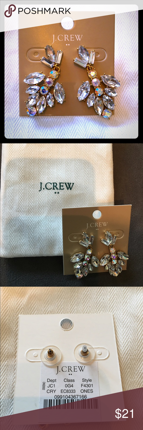 Classy J Crew Crystal earrings Sold out online! Gorgeous and never worn, these are perfect for a night out! Never worn and come with dust bag. Similar to styles at Kate spade and Zara, too. J. Crew Jewelry Earrings