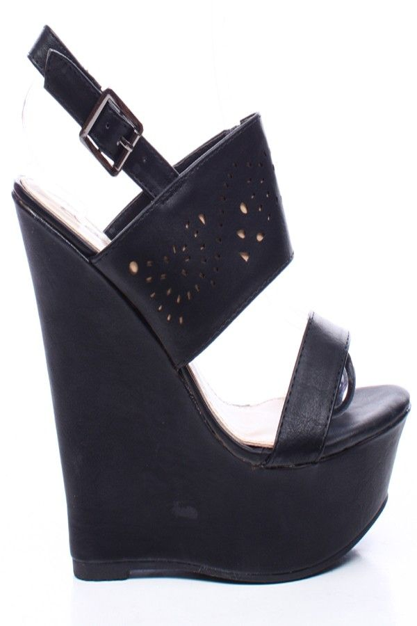 BLACK FAUX LEATHER ONE BAND VAMP SLING STRAP PLATFORM WEDGE,Womens Wedge Shoes For Sale-Heels Wedges,Suede Wedges,Lace Up Wedges,Platform We...