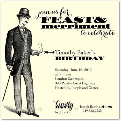 Adult birthday party invitation Tiny Prints gentleman vintage – Tiny Prints Birthday Party Invitation