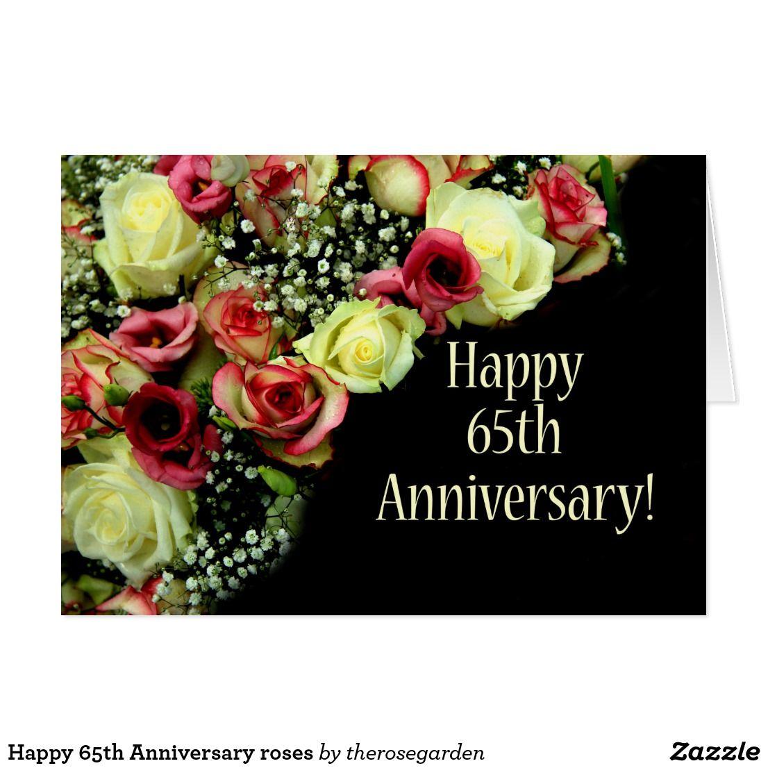 Happy 65th Anniversary roses Card Happy