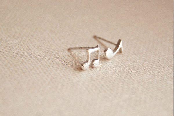 Musical note earrings,925 Sterling Silver earring studs,musical note earring studs