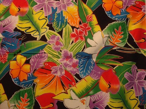 Tropical Flower Print Fabric Tropical Floral Print