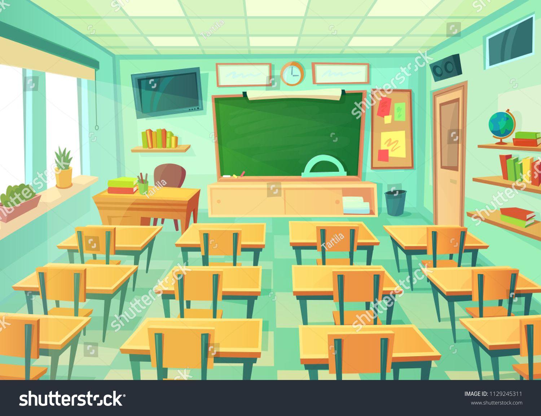 Empty Cartoon Classroom School Exam Room With Elementary Class Chalkboard And Blackboard Desks Lesson College Supplies Students Modern Mathematical C Classroom