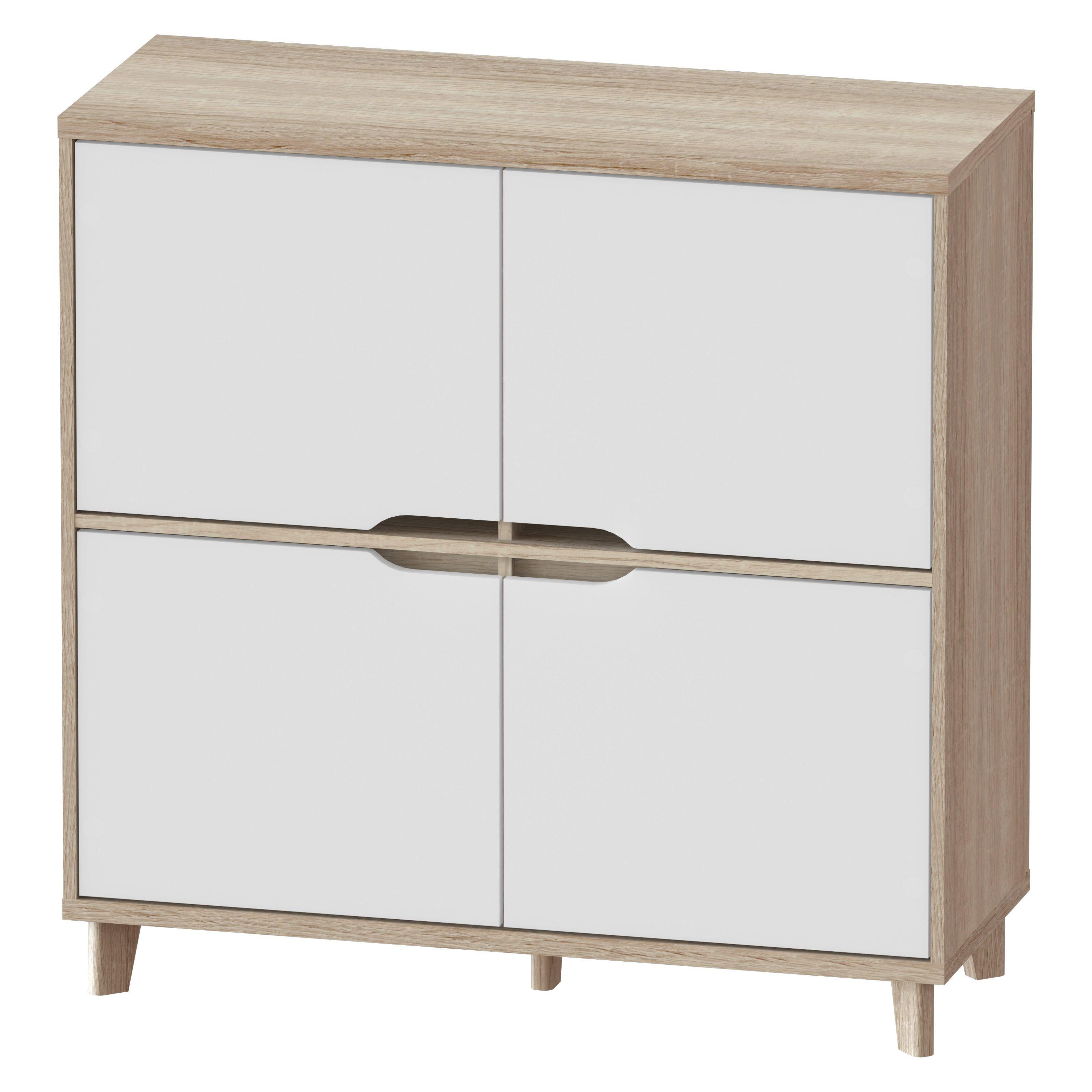 Rangement 4 Portes Nordic Imitation Chene Et Blanc Meuble Rangement Rangement Meuble Chambre