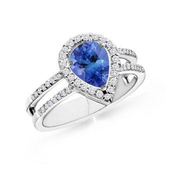 Angara Vogel Cushion Tanzanite and Diamond Halo Ring in Platinum EPH5zHckQj