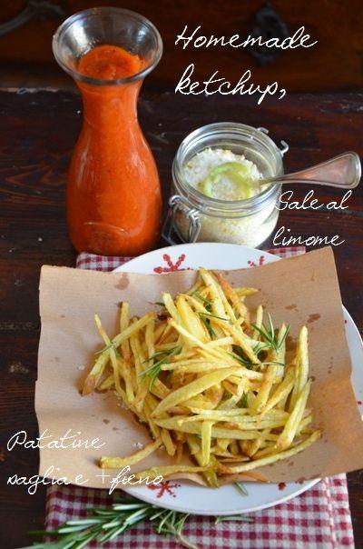Homemade Ketchup, lemon salt, straw potatoes