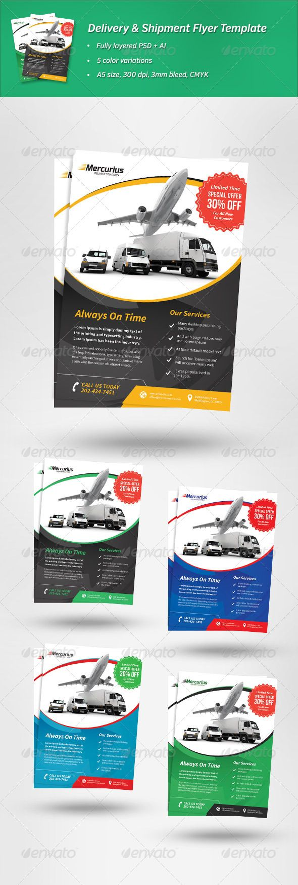 Delivery & Shipment Flyer Template | Flyer template and Print ...