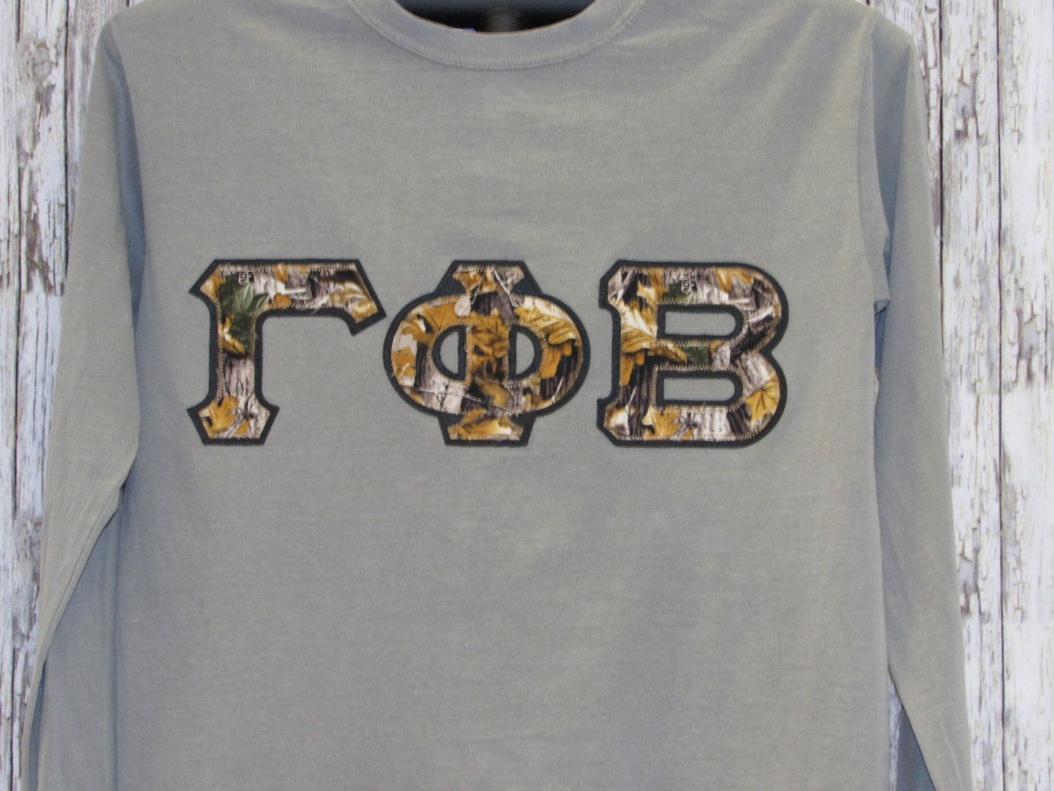 Gray Long Sleeve Camouflage Sorority Double Stitched