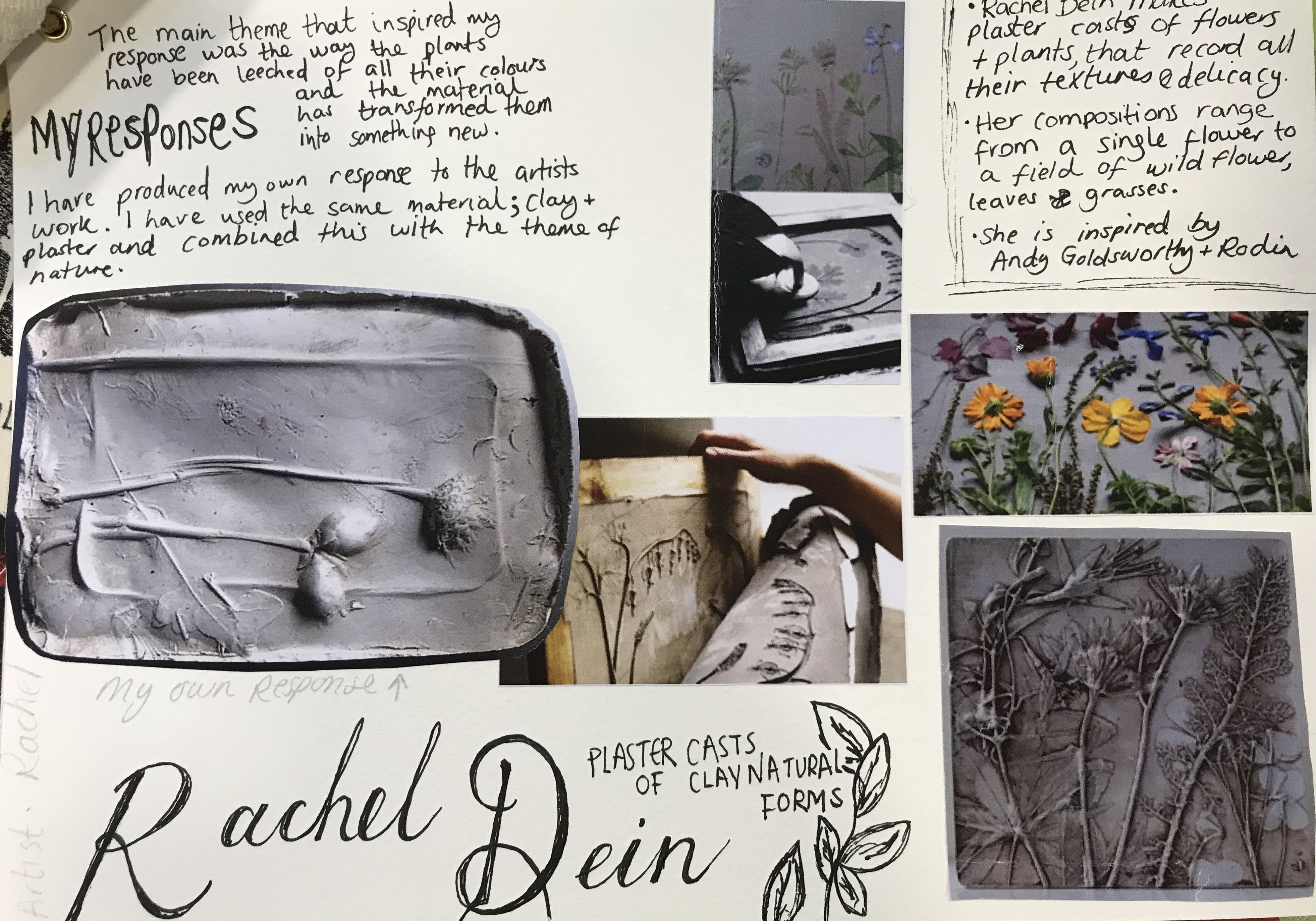 Rachel Dein artist research  Clay impressions and plaster