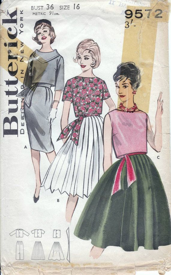 Butterick 60s sewing patterns, top and skirt - Bust 36 inches ...