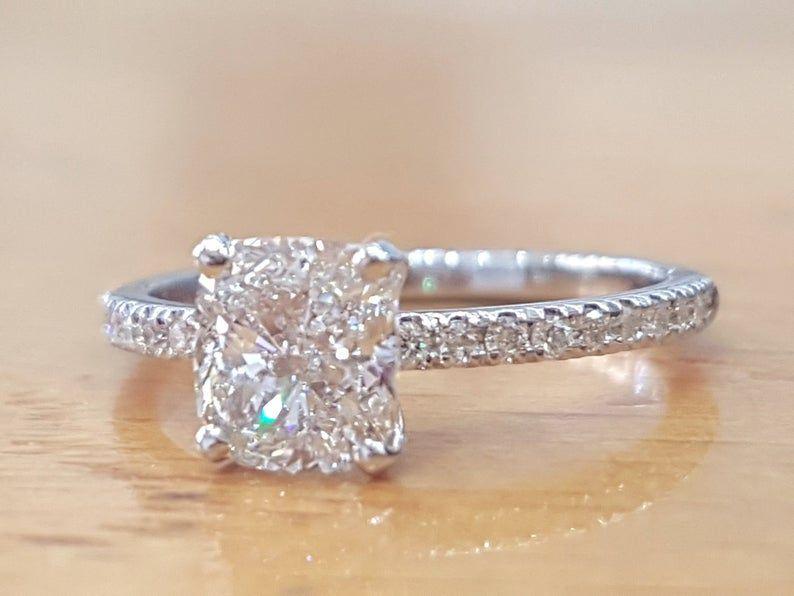 1 1 3 Carat Diamond Engagement Ring Cushion Diamond Ring Etsy In 2020 Diamond Engagement Rings Cushion Classic Engagement Rings Vintage Engagement Rings