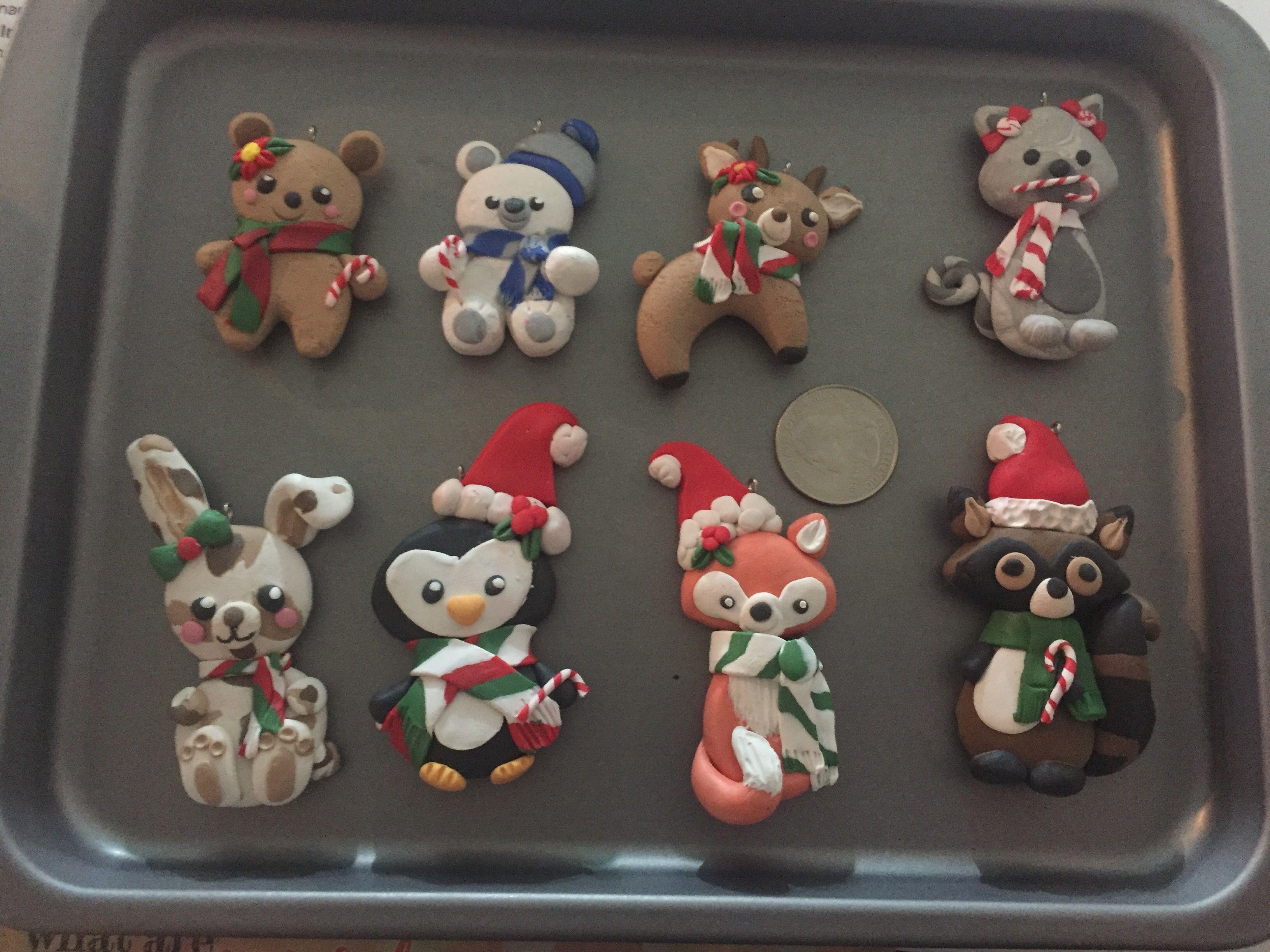 Etsy Shop Ichigosheart Polymer Clay Christmas Ornaments Teddy Bear Polar Bear Wolf Squirrel Christmas Clay Clay Christmas Decorations Polymer Clay Christmas