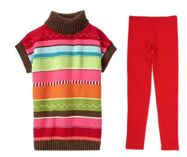 Gymboree WINTER CHEER Girls Outfit, Stripped Sweater Tunic with Red Leggings  Available in our store http://stores.ebay.com/Star-Baby-Designs-Home-Store\  Find us on Facebook! https://www.facebook.com/StarBabyDesigns/