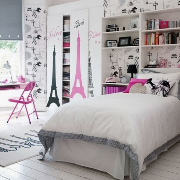 charming room decorations for girl. The theme of this room is pink Eiffel Tower  This for girls who like Paris If you love or something in must c tatli kiz genc odasi dekorasyonu gen Pinterest Room decor